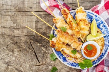 Grilled chicken on a skewer