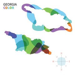 Abstract vector color map of Georgia