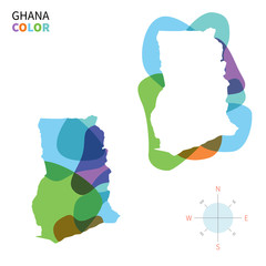Abstract vector color map of Ghana