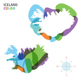 Abstract vector color map of Iceland