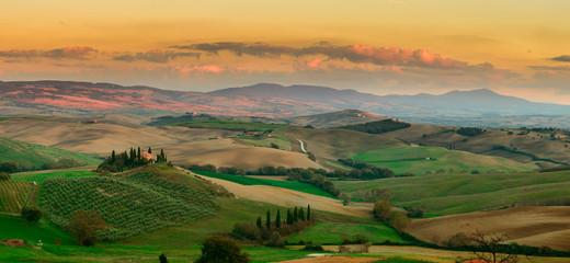 Sunset in Tuscany Field, Italy