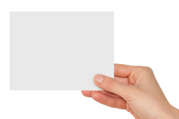 hand holding a blank white card