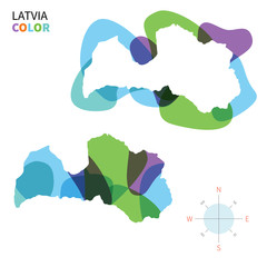 Abstract vector color map of Latvia
