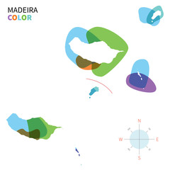 Abstract vector color map of Madeira
