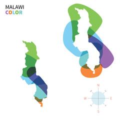 Abstract vector color map of Malawi
