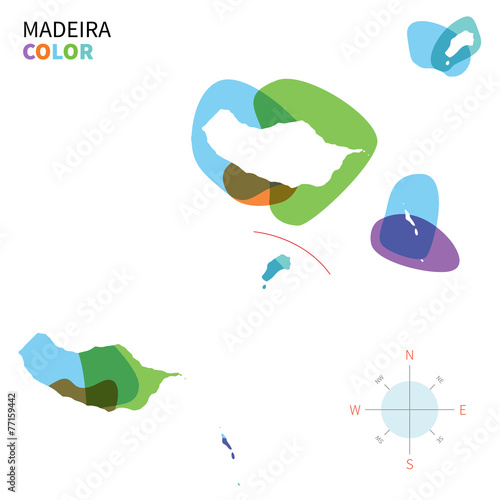 Poster Vormen Abstract vector color map of Madeira