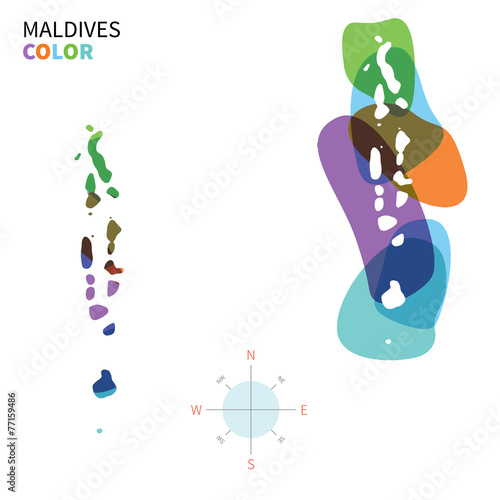 Aluminium Vormen Abstract vector color map of Maldives