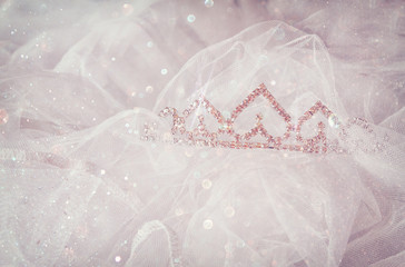 Wedding vintage crown of bride and veil with glitter overlay. we