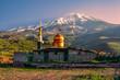 Leinwanddruck Bild - Mosque below Damavand