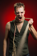 angry man with a rope around his neck