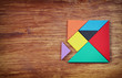 top view of a missing piece in a square tangram puzzle, over woo - 77160608