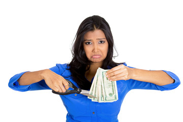 woman business worker employee cutting budget trimming dollars