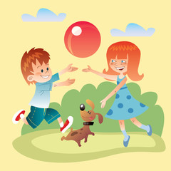 Kids and dog play outdoors in the ball