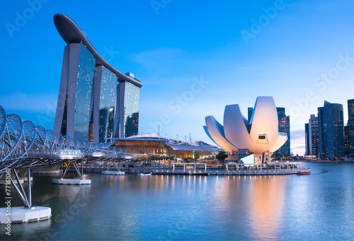 Marina Bay area at night, Singapore. - 77161061