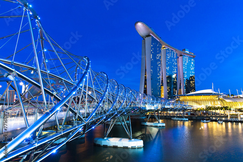 Fotobehang Singapore Marina Bay area at night, Singapore.