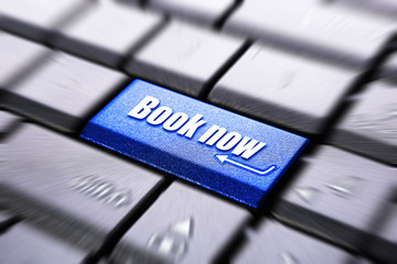 Book now button on the computer keyboard