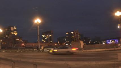 Night Vilnius. Green Bridge in Vilnius.  January 2015