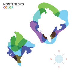 Abstract vector color map of Montenegro