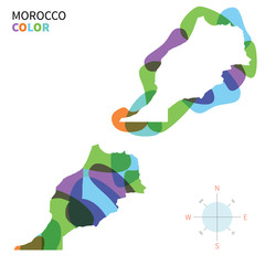 Abstract vector color map of Morocco