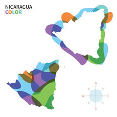 Abstract vector color map of Nicaragua