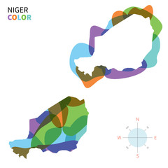 Abstract vector color map of Niger