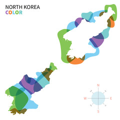 Abstract vector color map of North Korea