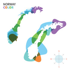 Abstract vector color map of Norway