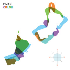 Abstract vector color map of Oman