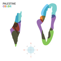 Abstract vector color map of Palestine