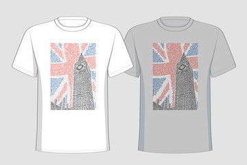 Image of the Big Ben placed on t-shirts.