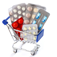 Shopping trolley with pills isolated