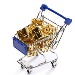 Shopping trolley with gift
