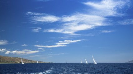Panorama of the sea with group yacht sailing.