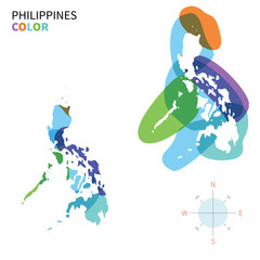 Abstract vector color map of Philippines