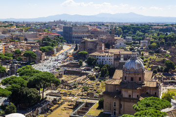 ancient ruins of roman forum in Rome, Lazio, Italy