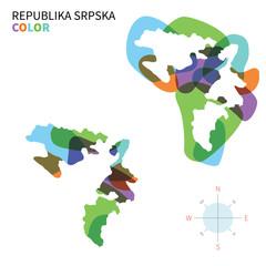 Abstract vector color map of Republika Srpska