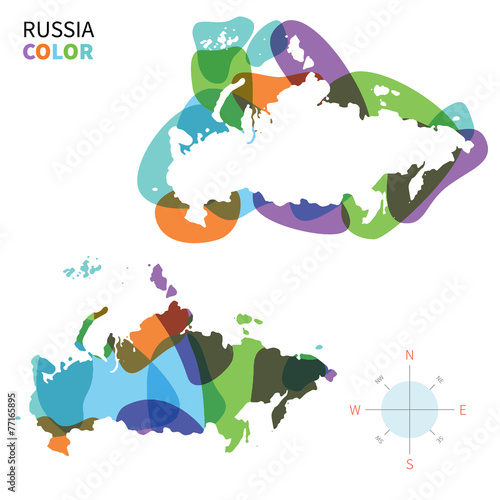 Tuinposter Vormen Abstract vector color map of Russia