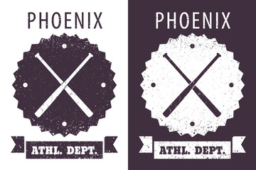 Athletic dept. t-shirt grunge design with crossed bats, eps10