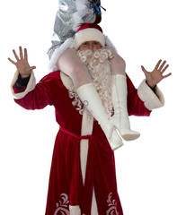 Image of Santa holding a maiden on shoulders