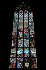 The Holy Family. Art Nouveau stained glass window.