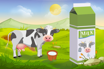 Cute cow and milk pack
