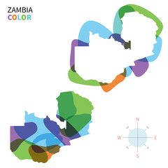Abstract vector color map of Zambia