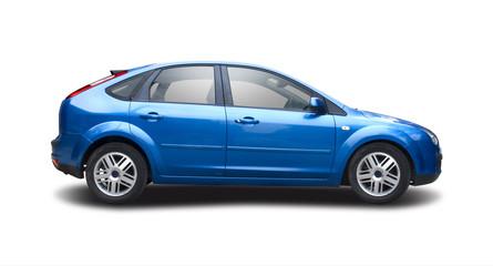 Blue hatchback family car