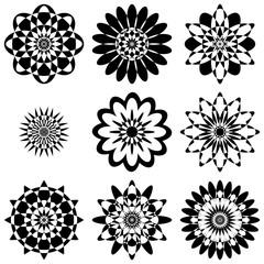 Background motley geometric pattern of flowers, Black on White