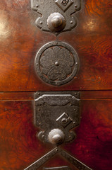 Detail of antique japanese iron-bound chest