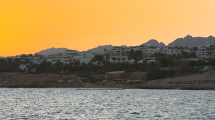 beautiful sunset on the red sea