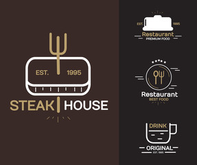 Set of Food and Drink Logo sign and symbol