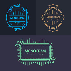 Set of Monogram design badges