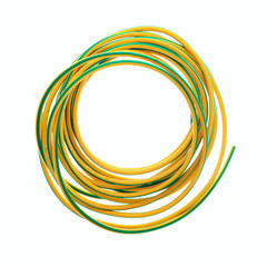 Yellow and Green Earth Wire Sleeving on a White Background
