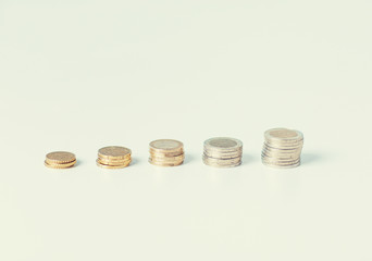 stack of coins in one row